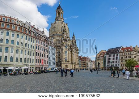 DRESDEN GERMANY - SEPTEMBER 09 2015: Neumarkt square and Dresden Frauenkirche (Church of Our Lady). Dresden is the capital of Saxony.