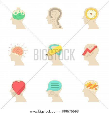Imagination in head icons set. Cartoon set of 9 imagination in head vector icons for web isolated on white background