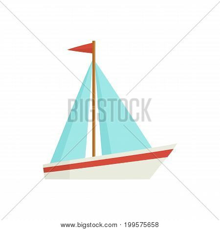 Little sailing ship, boat, sailboat, flat style cartoon vector illustration isolated on white background. Flat cartoon vector illustration of toy boat, sailing ship, sailboat with white sails
