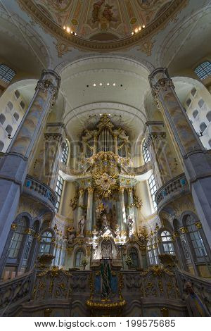 DRESDEN GERMANY - SEPTEMBER 09 2015: Altar of the Dresden Frauenkirche (Church of Our Lady). Dresden is the capital of Saxony.
