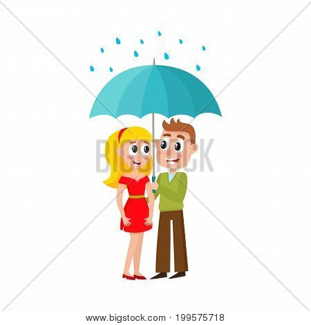 vector young man and woman walks in the rain happily keeping umbrella in hand. Flat cartoon isolated couple illustration on a white background