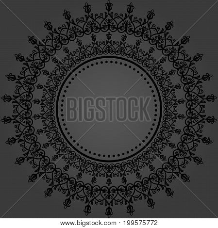 Elegant vector ornament in classic style. Abstract traditional pattern with oriental elements. Classic dark vintage pattern