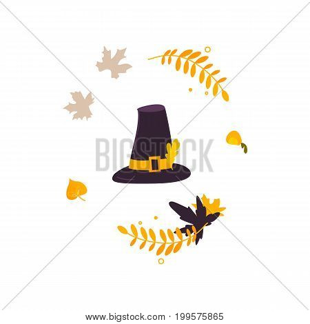 Cartoon black and yellow pilgrim hat and fall, autumn leaves, Thanksgiving decoration element, vector illustration isolated on white background. Cartoon pilgrim hat and fall, autumn leaves