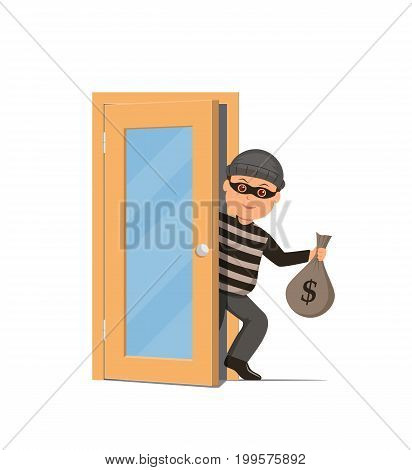 Thief in a mask holding a money bag and sneaks through the door. Cartoon burglar in flat style. Vector illustration.