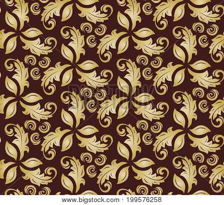 Floral vector golden ornament. Seamless abstract classic background with flowers. Pattern with repeating elements