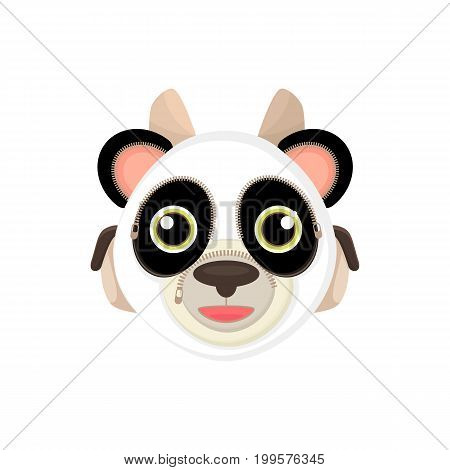 Back to school things for study - an unusual stylized briefcase on the webbing for a cartoon animal. Cartoon panda vector illustration.
