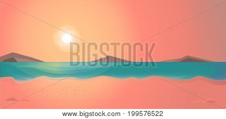 Evening time on the beach. Summer vector illustration landscape.