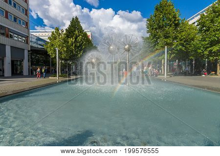 DRESDEN GERMANY - SEPTEMBER 09 2015: A beautiful fountain in the form of a ball on the square in the old town. Dresden is the capital city of the Free State of Saxony.