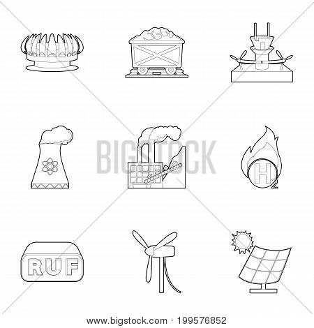 Eco industry icons set. Outline set of 9 eco industry vector icons for web isolated on white background