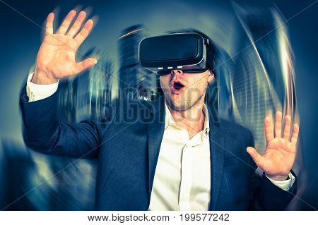 Businessman Wearing Virtual Reality Goggles