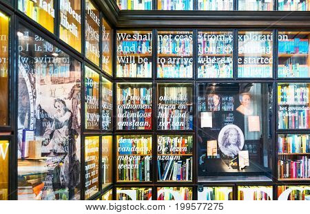 Rotterdam The Nederlands - July 17 2016: An old library in the side nave of the San Lorenzo church