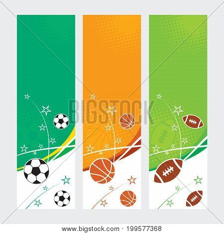 A set of sports themed banners for football soccer and basketball.