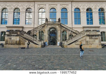 DRESDEN GERMANY - SEPTEMBER 09 2015: Dresden Transport Museum on the square Neumarkt. Dresden is the capital city of the Free State of Saxony.