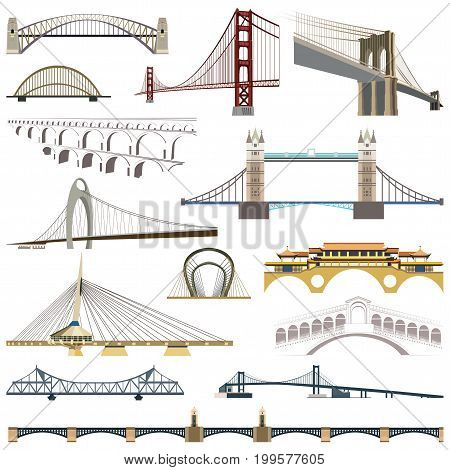 collection of vector isolated bridges illustration set
