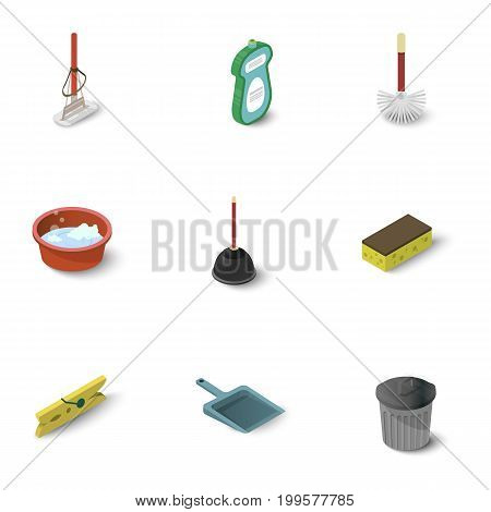 Housework icons set. Isometric set of 9 housework vector icons for web isolated on white background