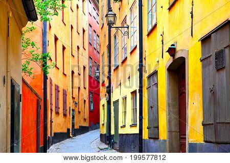 Perspective of old street in Stockholm, Sweden
