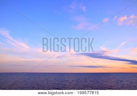 Beautiful  sundown - seascape with sea horizon