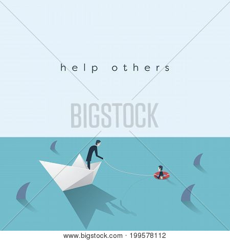 Businessman saving another businessman from drowning vector illustration. Business help, rescue, danger symbol. Eps10 vector illustration.