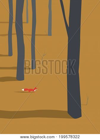 Fox coming out of autumn or fall forest vector illustration. Seasonal autumn landscape design. Eps10 vector illustration.