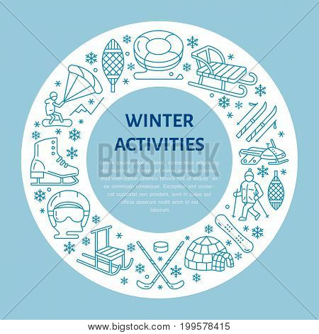 Winter sports banner, equipment rent at ski resort. Vector line icon of skates, hockey sticks, sleds, snowboard, snow tubing hire. Cold season outdoor activities template with place for text.