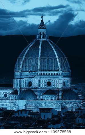 Duomo Santa Maria Del Fiore in Florence Italy dome closeup view at night