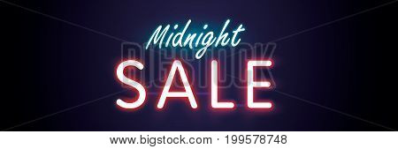 Midnight Sale Neon Style Heading Design For Banner Or Poster. Sale And Discounts Concept. Vector Ill