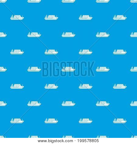 Cargo ship pattern repeat seamless in blue color for any design. Vector geometric illustration