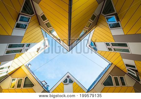 Rotterdam The Nederlands - July 18 2016: The ultramodern architectures of the famous Cube Houses by Piet Blam architect