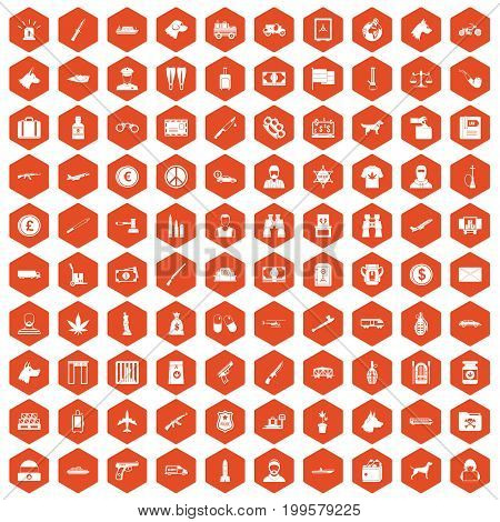 100 smuggling  icons set in orange hexagon isolated vector illustration