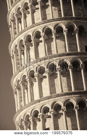 Leaning tower closeup view in Pisa, Italy as the worldwide known landmark.
