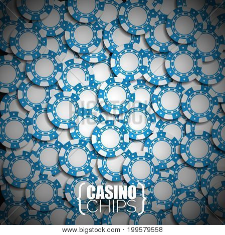 Vector Illustration On A Casino Theme With Blue Playing Chips.
