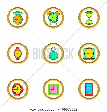 Time and clocks icons set. Cartoon set of 9 time and clocks vector icons for web isolated on white background