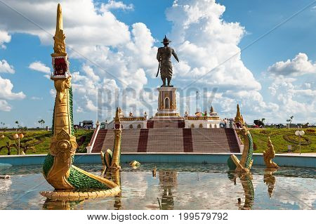 Chao Fa Ngum Statue in Vientiane giant memorial in Chao Anouvong park on a beautiful day
