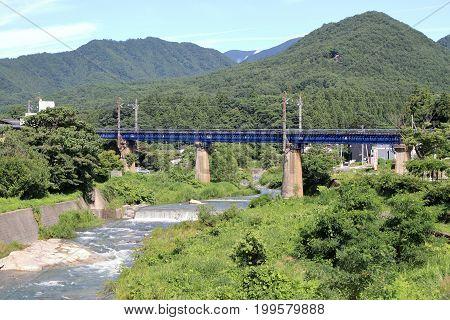 Tachiya River And Railroad Bridge In Yamadera, Yamagata, Japan