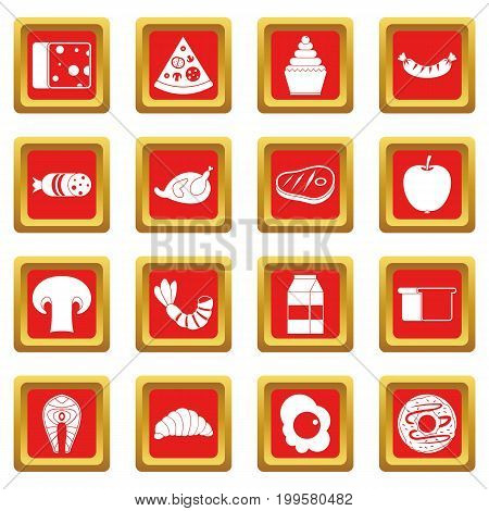 Food icons set in red color isolated vector illustration for web and any design