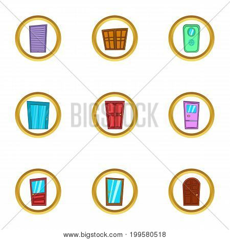 Door exterior icons set. Cartoon set of 9 door exterior vector icons for web isolated on white background