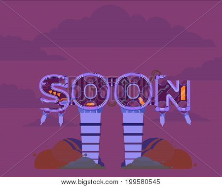 Coming Soon illustration icon page text rasterized