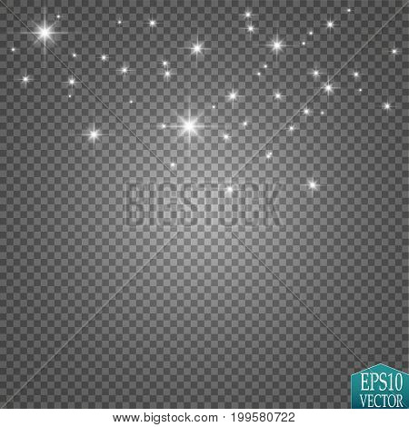 Vector white glitter wave illustration. White star dust trail sparkling particles isolated on transparent background. Magic concept