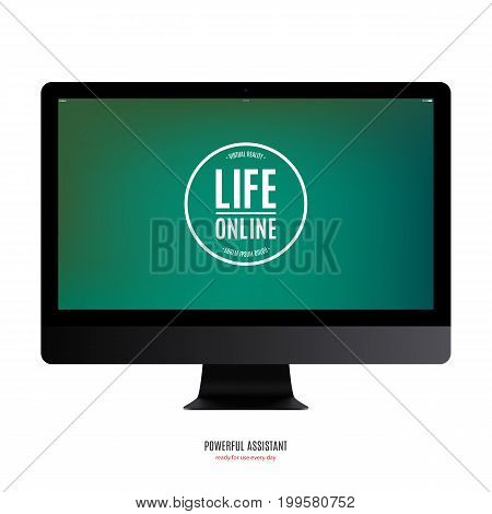 computer monitor black color with colored screen isolated on white background. stock vector illustration eps10