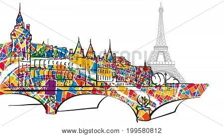 Paris Urban City Bridge And Eiffel Tower