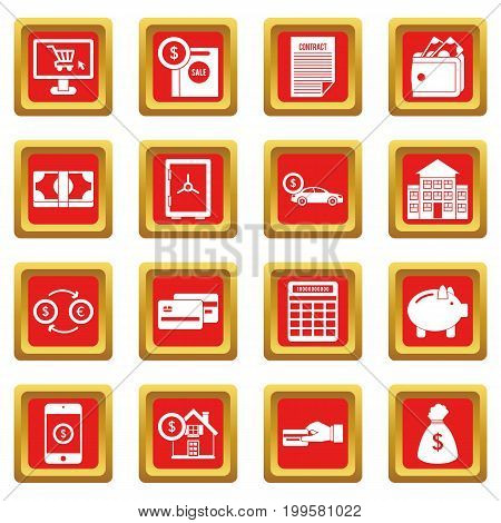 Credit icons set in red color isolated vector illustration for web and any design