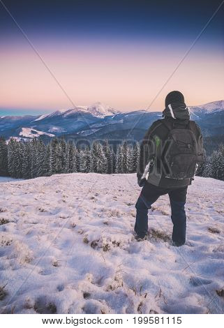 Hiker Looks To The High Mountain. Instagram Stylization
