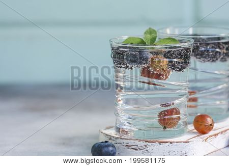 Carbonated Drinks In Glass With Fresh Berries.