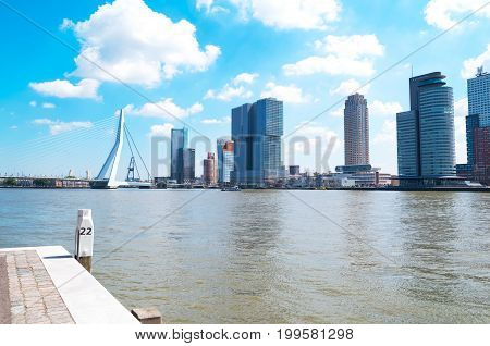 Rotterdam The Nederlands - July 18 2016: The Maas river vith the Erasmus bridge seen from heVeerhaven History Harbor