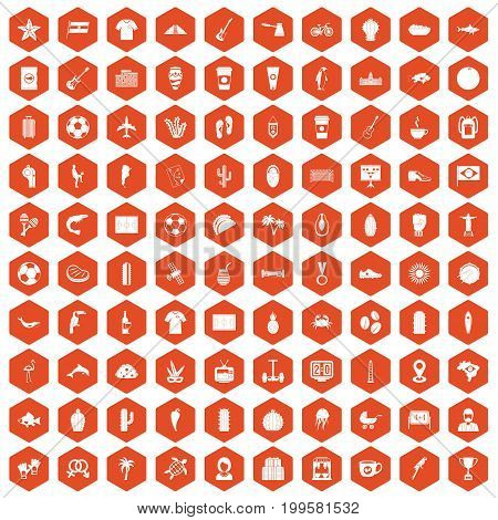 100 South America icons set in orange hexagon isolated vector illustration