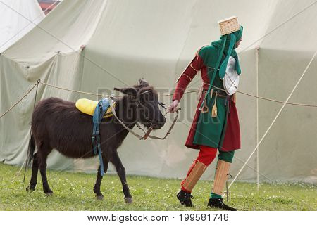ST. PETERSBURG, RUSSIA - JULY 8, 2017: Buffoon with a donkey imitating the armored knight participating in jousting during the military history project Battle On Neva at St. Peter and Paul fortress