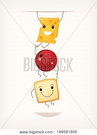 Picture with simple breakfast sandwich elements hanging in the order of making sandwich. Vector illustration