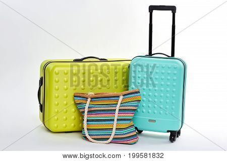 New large suitcases, textile handbag. Luggage bags for summer travelling.