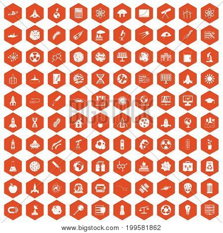 100 space icons set in orange hexagon isolated vector illustration