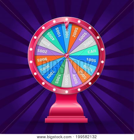 Realistic 3d spinning fortune wheel template, Casino online Illustration Eps 10